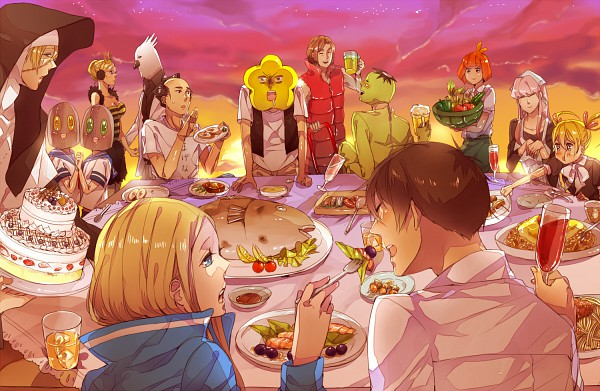 Tags: Anime, Pixiv Id 1555961, Arakawa Under the Bridge, Hoshi, Stella (Arakawa), P-ko, Ichinomiya Kou, Kappa (Arakawa), Nino (Arakawa), Billy (Arakawa), Maria (Arakawa), Jacqueline, Sister (Arakawa)