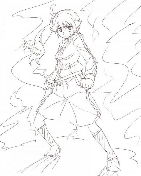 Tags: Anime, Ka Pool, Monogatari, Araragi Karen, Sketch, Fanart, Pixiv, Fanart From Pixiv