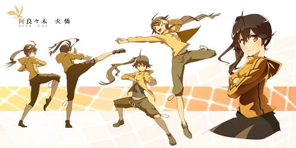 Tags: Anime, Pomon Illust, Monogatari, Araragi Karen, Punching, Martial Arts, Facebook Cover, Wallpaper