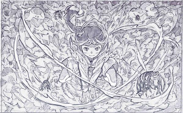 Tags: Anime, Sakino Shingetsu, Monogatari, Araragi Karen, Wasp, Bee, Traditional Media, Pencil (Medium)