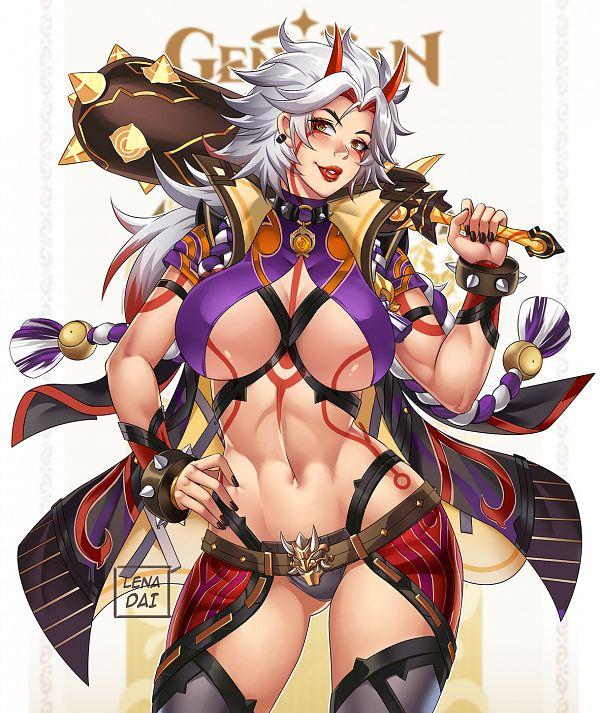 Tags: Anime, Lena Dai, Genshin Impact, Arataki Itto, Spiked Bracelet, Pixiv, Fanart, Fanart From Pixiv