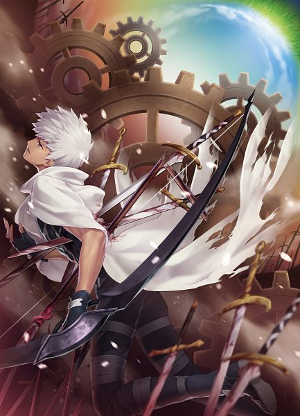 Tags: Anime, Yeruen, Fate/stay night, Archer (Fate/stay night), Run Through, Unlimited Blade Works (Noble Phantasm), Pixiv, Mobile Wallpaper, Fanart From Pixiv, Fanart