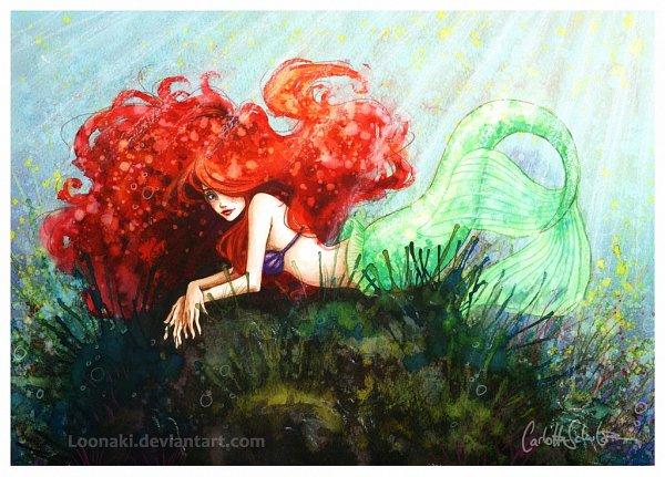 Tags: Anime, Little Mermaid, Little Mermaid (Disney), Ariel, Loonaki, Fins, Shell Bra, Traditional Media, Fanart, Fanart From DeviantART, Watercolor, deviantART, Disney