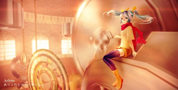 Tags: Anime, ArleneTea, Project DIVA Arcade Future Tone, VOCALOID, Hatsune Miku, Patch On The Nose, Purple Legwear, Orange Footwear, Yellow Shorts, Wallpaper, Arifureta Sekai Seifuku, PNG Conversion, Pixiv, Common World Domination