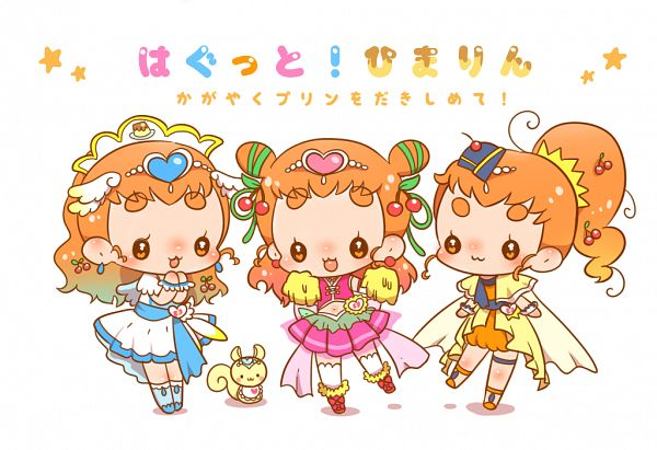 Tags: Anime, Pixiv Id 871011, Kirakira☆Precure a la Mode, Arisugawa Himari, Cure Étoile (Cosplay), Cure Ange (Cosplay), Cure Yell (Cosplay), Squirrel, Hug-tan (Cosplay), Fanart, Fanart From Pixiv, Pixiv
