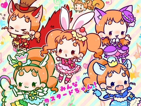 Tags: Anime, Pixiv Id 871011, Kirakira☆Precure a la Mode, Arisugawa Himari, Cure Custard, Cure Chocolat (Cosplay), Cure Gelato (Cosplay), Risumimi, Cure Macaron (Cosplay), Shishimimi, Cure Whip (Cosplay), Pixiv, Fanart