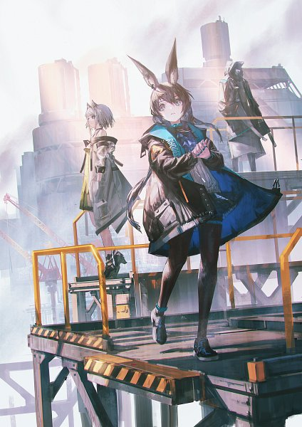 Tags: Anime, Reoen, Arknights Comic Anthology, Arknights, Kal'tsit, Amiya, Doctor (Arknights), Standing On Tip Toes, Fanart From Pixiv, Official Art, Pixiv, Fanart