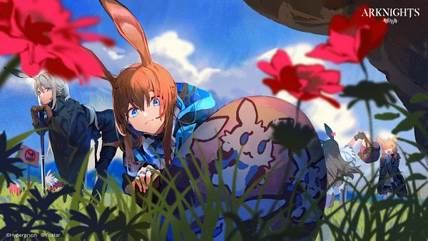 Tags: Anime, Nanban319, HyperGryph, Arknights, April (Arknights), Amiya, Kroos, Savage (Arknights), Easter, Wallpaper, Official Art, Official Wallpaper