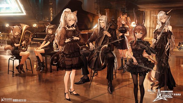 Tags: Anime, LM7, HyperGryph, Arknights, Amiya, Shining (Arknights), Silence (Arknights), Hellagur, Angelina (Arknights), Schwarz (Arknights), Sussurro, Official Wallpaper, Wallpaper