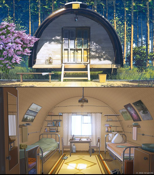 Tags: Anime, ArseniXC, Everlasting Summer, Russian, Spring, Poster (Object), Bedroom, No Character, Pixiv, Original