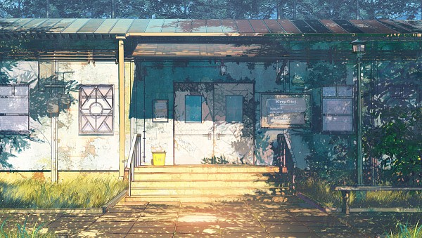 Tags: Anime, ArseniXC, Everlasting Summer, No Character, Still Life, Light Pole, Bucket, Shade, Pixiv, Original, Facebook Cover