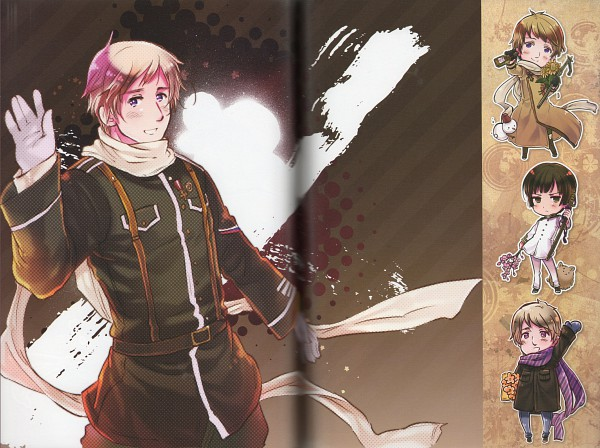 Tags: Anime, Himaruya Hidekaz, Axis Powers: Hetalia, ArteStella, Japan, Pochi-kun, Russia, Official Art, Scan, Soviet Union, Asian Countries, Axis Power Countries, Allied Forces