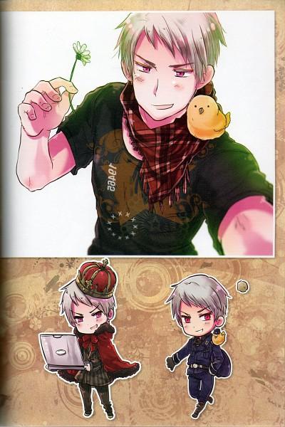 Tags: Anime, Himaruya Hidekaz, Studio DEEN, Axis Powers: Hetalia, ArteStella, Prussia, Gilbird, Official Art, Scan, CD (Source), Mobile Wallpaper