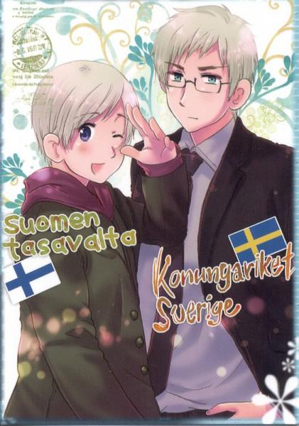 Tags: Anime, Himaruya Hidekaz, Axis Powers: Hetalia, ArteStella, Finland, Sweden, Mobile Wallpaper, Nordic Countries