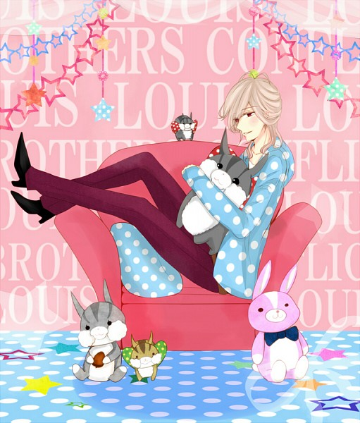 Tags: Anime, Pixiv Id 2727677, BROTHERS CONFLICT, Juli (Brothers Conflict), Asahina Louis, Hugging Toy, Purple Pants, Stuffed Squirrel, Pixiv, Fanart, Fanart From Pixiv