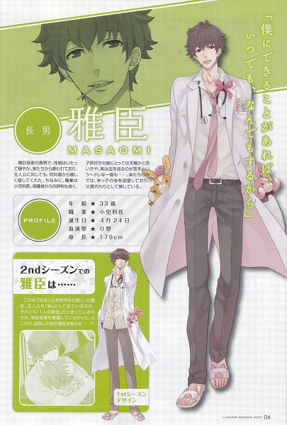 Tags: Anime, Udajo, IDEA FACTORY, BROTHERS CONFLICT, Asahina Masaomi, Ema (Brothers Conflict), Doctor, Character Profile, Mobile Wallpaper, Official Art