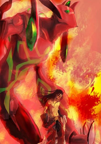 Tags: Anime, Pixiv Id 1218081, Shaman King, Spirit of Fire, Asakura Hao, Chest, Fanart, Mobile Wallpaper, Pixiv, Fanart From Pixiv