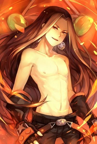 Tags: Anime, pananada, Shaman King, Spirit of Fire, Asakura Hao, Fanart, Mobile Wallpaper, Pixiv, Fanart From Pixiv