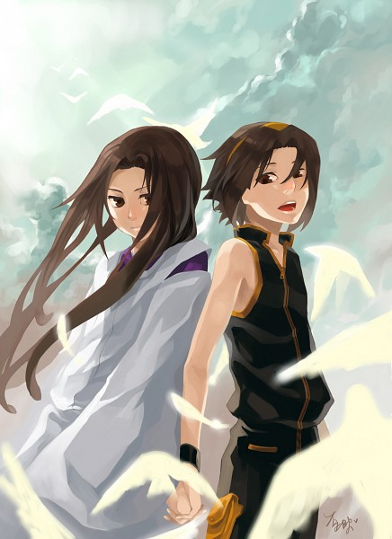Tags: Anime, Pixiv Id 798020, Shaman King, Asakura Hao, Asakura Yoh, White Bird, Fanart From Pixiv, Fanart, Mobile Wallpaper, Pixiv, Asakura Twins