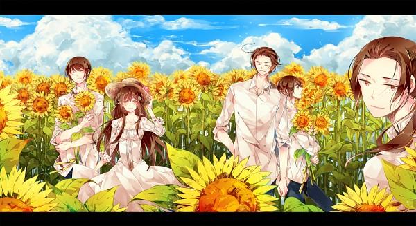 Tags: Anime, Kamitsuki, Axis Powers: Hetalia, China, Hong Kong, Japan, South Korea, Taiwan, Flower Field, PNG Conversion, Facebook Cover, Fanart, Fanart From Pixiv