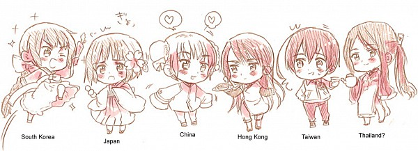 Tags: Anime, Himaruya Hidekaz, Axis Powers: Hetalia, Japan (Female), Taiwan (Male), Macau (Female), China (Female), Thailand (Female), South Korea (Female), Hong Kong (Female), Nyotalia, Official Art, Axis Power Countries