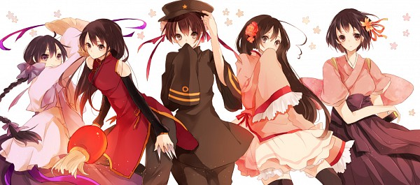 Tags: Anime, Yori, Axis Powers: Hetalia, Taiwan, Japan (Female), South Korea (Female), Hong Kong (Female), China (Female), Pixiv, Nyotalia, Facebook Cover, Fanart, Asian Countries