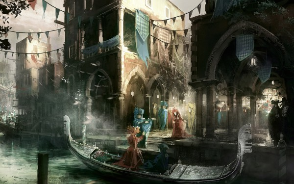 Tags: Anime, Assassin's Creed, Crowd, Gondola, Venice, Boat, Carnival, Official Art, Wallpaper