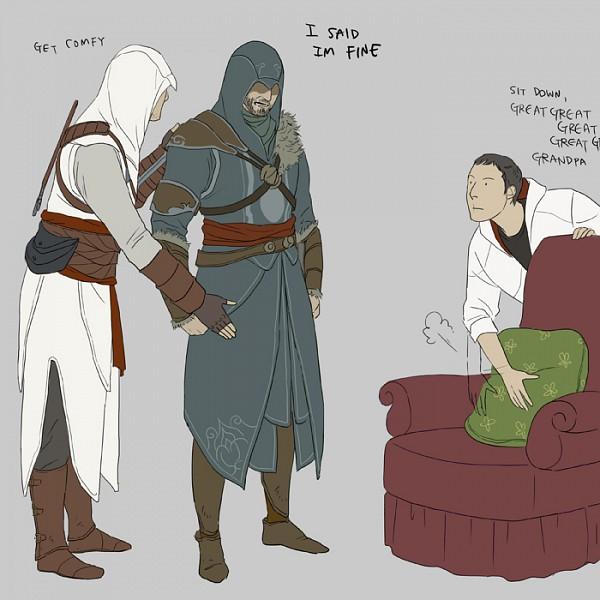 Tags: Anime, Doubleleaf, Assassin's Creed, Assassin's Creed II, Assassin's Creed: Revelations, Desmond Miles, Ezio Auditore Da Firenze, Altair Ibn La-Ahad
