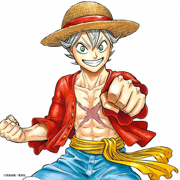 Tags: Anime, Tabata Yuuki, Black Clover, Asta (Black Clover), ONE PIECE (Cosplay), Monkey D. Luffy (Cosplay), Bro Fist, Scan, Official Art, WEEKLY JUMP (Source), Magazine (Source)