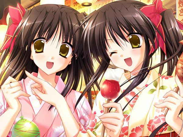 Tags: Anime, Aster, Yuzuki Saki, Yuzuki Saya, Water Yoyo, Candy Apple