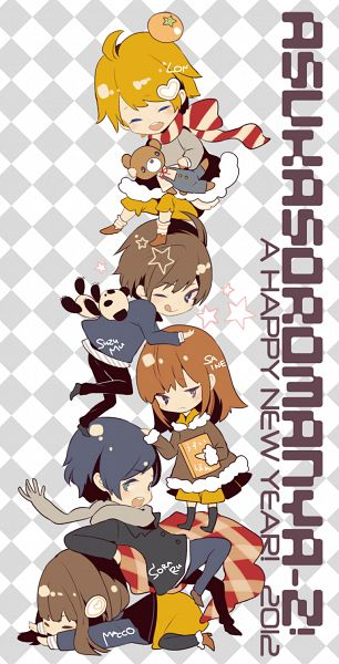 Tags: Anime, MACCO, Suzumu, Soraru, Saine (Character), MACCO (Character), Lon, Object On Head, Sorau, Pixiv, Fanart, Nico Nico Singer, Happy 2012