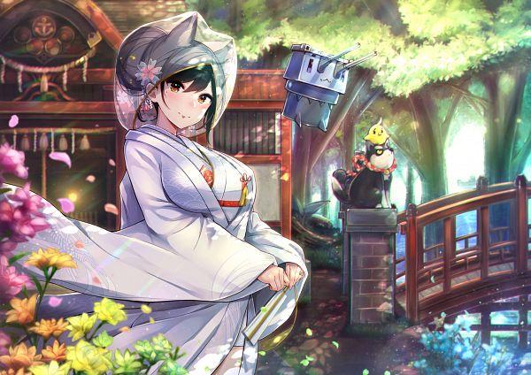 Tags: Anime, Pixiv Id 2481803, Azur Lane, Atago (Azur Lane), Shiromuku, Fanart, Revision, Azur Lane Bride 'Wedding' Illustration Contest, Fanart From Pixiv, Pixiv