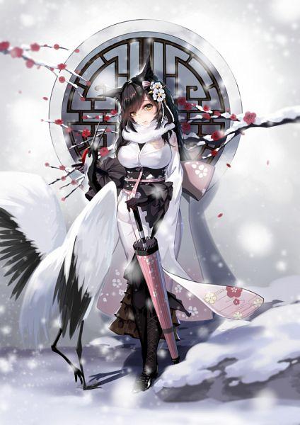 Tags: Anime, Pixiv Id 15173067, Bilan Hangxian, Atago (Bilan Hangxian), Closed Umbrella, Crane, Pixiv, Fanart, Happy 2018, Fanart From Pixiv
