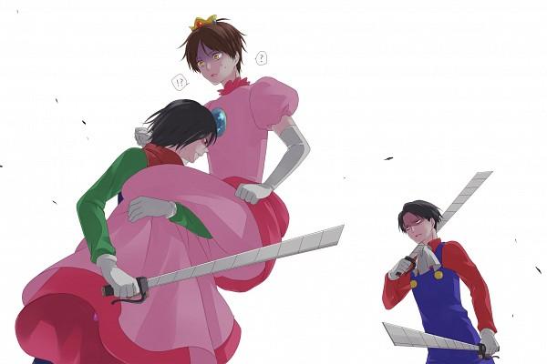 Tags: Anime, Pixiv Id 831552, Attack on Titan, Eren Jaeger, Levi Ackerman, Mikasa Ackerman, Luigi (Cosplay), Super Mario Bros. (Parody), Princess Peach (Cosplay), Mario (Cosplay), Pixiv, Fanart From Pixiv, Fanart