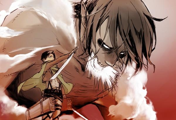 Tags: Anime, Pixiv Id 1725061, Attack on Titan, Titan (Shingeki no Kyojin), Eren Jaeger, Levi Ackerman, Rogue Titan, Kaze no Tani no Nausicaä (Parody), Giant, Fanart, Fanart From Pixiv, Pixiv