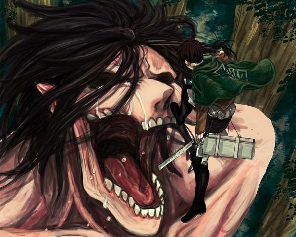 Tags: Anime, Pixiv Id 3144645, Attack on Titan, Titan (Shingeki no Kyojin), Eren Jaeger, Levi Ackerman, Rogue Titan, Fanart From Pixiv, Pixiv, Fanart
