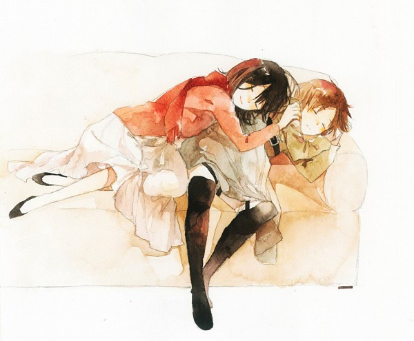 Tags: Anime, Lilee (Laynie), Attack on Titan, Eren Jaeger, Mikasa Ackerman, Laying on Couch, Fanart, Watercolor, Traditional Media, Pixiv, Fanart From Pixiv, EreMika