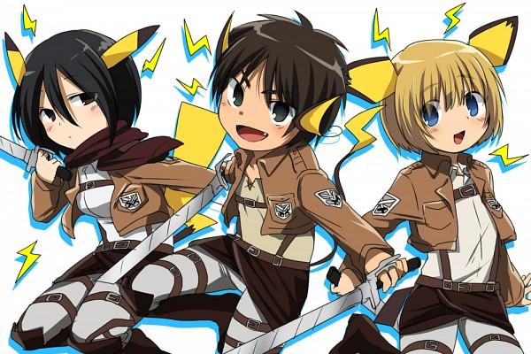 Tags: Anime, Marimo Danshaku, Attack on Titan, Armin Arlert, Eren Jaeger, Mikasa Ackerman, Raichu (Cosplay), Pikachu (Cosplay), Pichu (Cosplay), Pokémon (Cosplay), Fanart, Pixiv