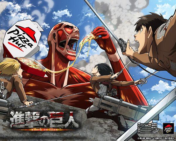 Tags: Anime, WIT STUDIO, Attack on Titan, Armin Arlert, Eren Jaeger, Mikasa Ackerman, Colossal Titan, Titan (Shingeki no Kyojin), Pizza, Pizza Hut, Official Art, Official Wallpaper, Product Advertising