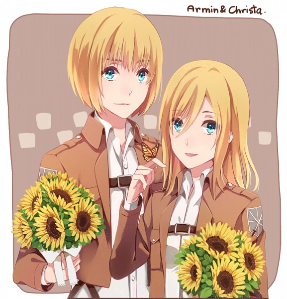 Tags: Anime, Catdolljin, Attack on Titan, Armin Arlert, Christa Renz, Butterfly on Hand, Animal on Hand, Fanart, Fanart From Pixiv, PNG Conversion, Pixiv, AruKuri