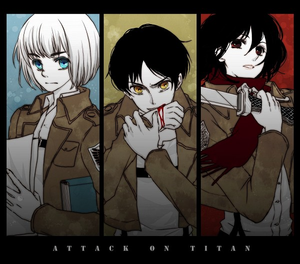Tags: Anime, Maru / まる, Attack on Titan, Armin Arlert, Eren Jaeger, Mikasa Ackerman, Fanart From Pixiv, Pixiv, Fanart