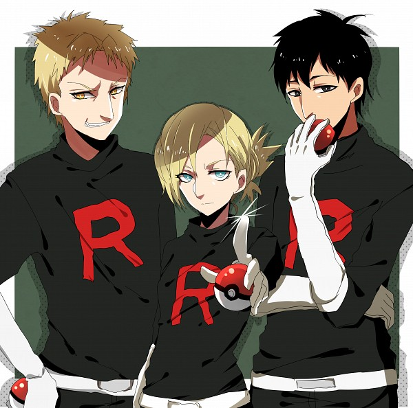 Tags: Anime, Pixiv Id 2377823, Attack on Titan, Annie Leonhardt, Bertholdt Fubar, Reiner Braun, Pointing at Camera, Pokémon (Cosplay), Characteristic Connection, Team Rocket (Cosplay), Fanart From Pixiv, Pixiv, Fanart