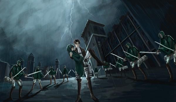 Tags: Anime, Pixiv Id 3847177, Attack on Titan, Eren Jaeger, Levi Ackerman, Fanart From Pixiv, Pixiv, Wallpaper, Fanart, Scouting Legion