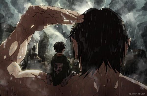 Tags: Anime, Pixiv Id 1655738, Attack on Titan, Eren Jaeger, Levi Ackerman, Rogue Titan, Titan (Shingeki no Kyojin), Pixiv