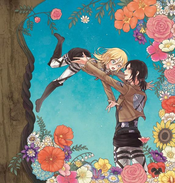 Tags: Anime, TANPI, Attack on Titan, Ymir (Shingeki no Kyojin), Christa Renz, Poppy, Pansy, Pounce, Lily Of The Valley, Daffodil, Daisy (Flower), Fanart From Pixiv, Pixiv