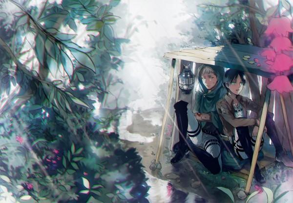 Tags: Anime, Pixiv Id 1162186, Attack on Titan, Jean Kirschstein, Eren Jaeger, Sitting On Grass, Fanart From Pixiv, Pixiv, Fanart, EreJean