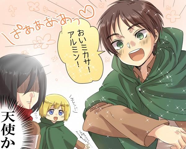 Tags: Anime, Tani (Pixiv 446857), Attack on Titan, Mikasa Ackerman, Armin Arlert, Eren Jaeger, Pixiv, Scan