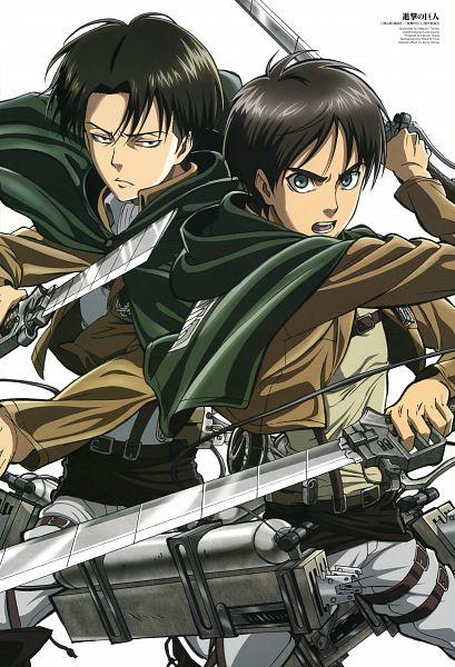 Tags: Anime, Tomita Megumi, WIT STUDIO, Attack on Titan, Eren Jaeger, Levi Ackerman, Mobile Wallpaper, Official Art, Scan