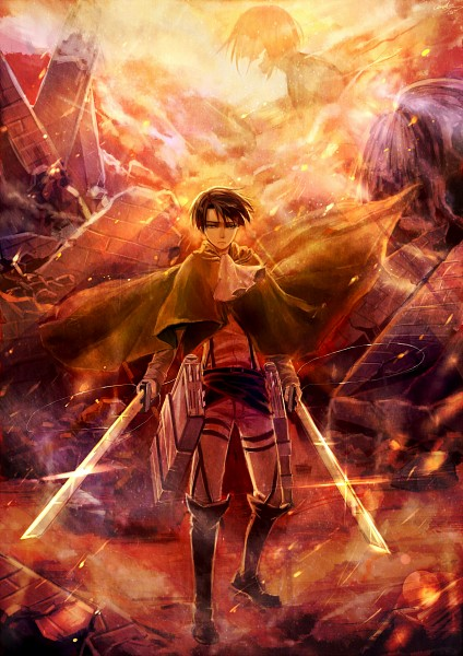 Tags: Anime, Pixiv Id 3981023, Attack on Titan, Eren Jaeger, Levi Ackerman, Rogue Titan, Titan (Shingeki no Kyojin), Pixiv, Fanart, Mobile Wallpaper, Fanart From Pixiv