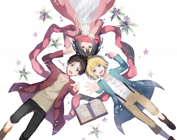 Tags: Anime, Michi (Iawei), Attack on Titan, Armin Arlert, Eren Jaeger, Mikasa Ackerman, Laying in Circle, Pageboy Haircut, Pointing at Camera, Adjusting Scarf, Floating Scarf, Pixiv, Fanart From Pixiv